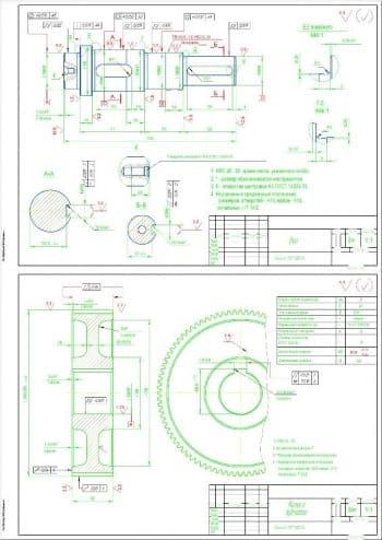 Сборочный чертеж редуктора цилиндрического с листом деталей