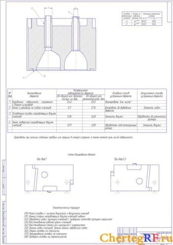 Чертеж дефектовки головки цилиндров двигателя КамАЗ-740