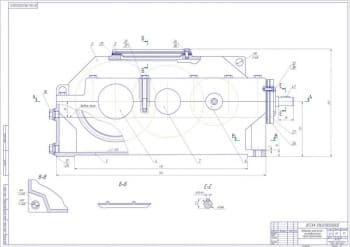 Чертеж общего вида приводной станции с набором сборочных чертежей коническо-цилиндрического редуктора и рабочих чертежей его деталей