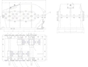 Чертеж привода в сборе, чертеж редуктора, чертеж детали крышка
