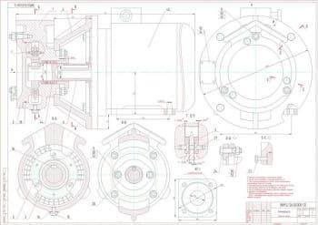 Набор чертежей вихревого электронасоса с полным комплектом рабочих чертежей деталей насоса