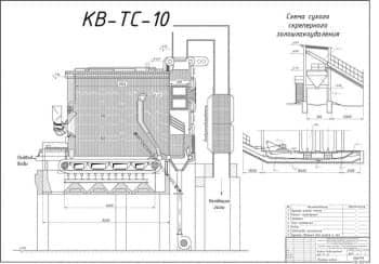 Сборочный чертеж котла водогрейного КВ-ТС-10 в разрезе для нужд паровой котельной