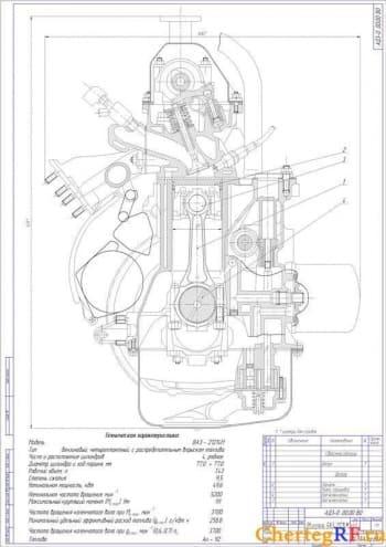 Чертеж бензинового двигателя автомобиля ВАЗ-21214
