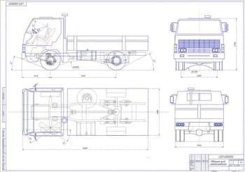 Чертеж вида общего автомобиля грузового