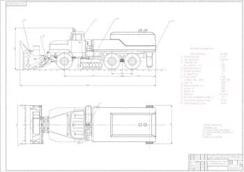 Чертежи проекта шнекороторного щеточного снегоочистителя на базе грузового автомобиля