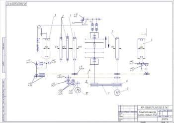 Чертеж кинематической схемы многопильного станка модели Ц5Д для раскроя пиломатериалов
