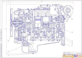 Чертежи двигателя внутреннего сгорания ЯМЗ-238