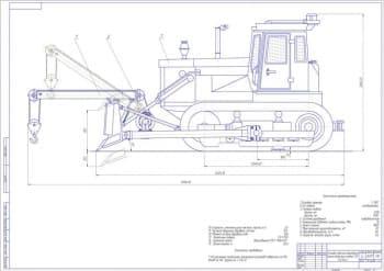 Чертеж общего вида навесного механизма подъема груза на базе трактора Т-130Г