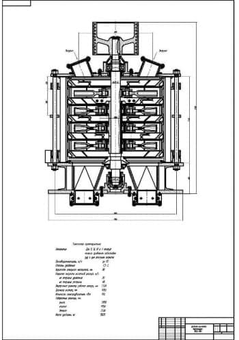 Сборочный чертеж молотковой вертикальной дробилки модели ВМД-105А для дробления известняка, мрамора, доломита, отходов производства, угля, асбестовой руды и для распушки асбеста