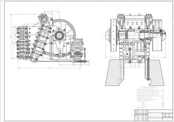 Сборочный чертеж дробилки щековой СМД-66А для измельчения кусков руды