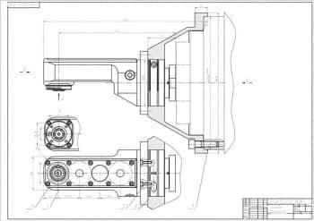 Комплект сборочных чертежей фрезерной головки и деталей, со спецификацией и кинематической схемой