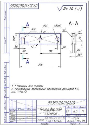 20.Рабочий чертеж съемной верхней плиты из полосы 30х100 сталь 35 (формат А4)