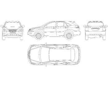 20.Чертеж вида общего автомобиля легкового Lexus RX 300 в различных проекциях – виды спереди, сбоку, сзади и сверху (формат А1)