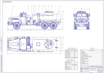 Конструкция автотопливозаправщика на базе Урал АТЗ-6-4320 с насосом 1АСВН-80А
