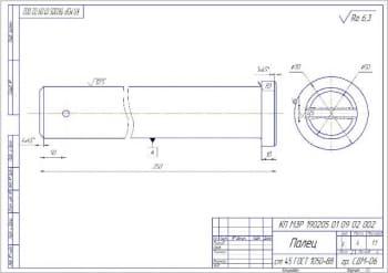 2.Рабочий чертеж детали палец А3