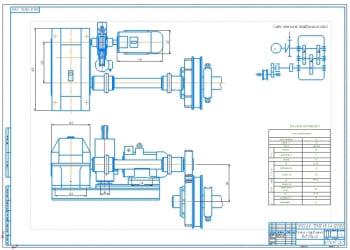 2.Сборочный чертеж механизма передвижения А1 с кинематической схемой и характеристикой