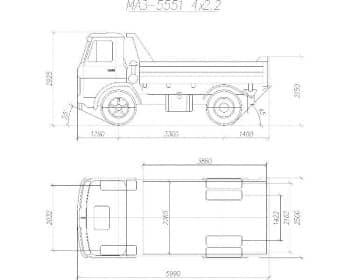 21.Общего вида чертеж автомобиля грузового МАЗ-5551*4.2.2 в 2х проекциях – виды сбоку и сверху, с проставлением размерности (формат А1)