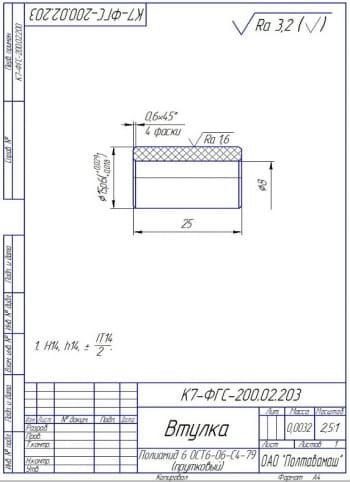 21.Втулка из полиамида 6 ОСТ6-06-С4-79 (прутковый)