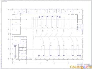 Чертеж плана производственного корпуса. На чертеже отмечены размеры и позиции: участка, зоны, цеха производственного корпуса. Чертеж выполнен в масштабе 1:100 (формат А0)
