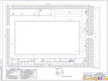Чертеж генерального плана АРП для ремонта полнокомплектных автомобилей ЗиЛ-130, КамАЗ – 4310. На чертеже имеются условные обозначения: дерево; цветник