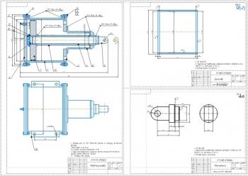 2.Сборочный чертеж пневмоцилиндра, технические требования: Сварные швы по ГОСТ 15164-80