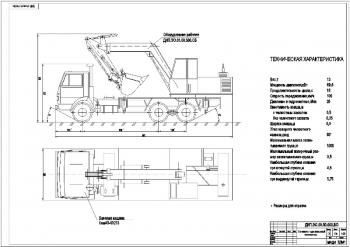 2.Общий вид одноковшового экскаватора в двух проекциях с указанием габаритных размеров и технической характеристикой