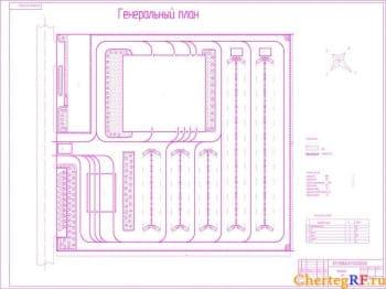 Чертеж генерального плана с техническими характеристиками: площадь участка – 50906 кв.м.; площадь застройки – 25553 кв.м