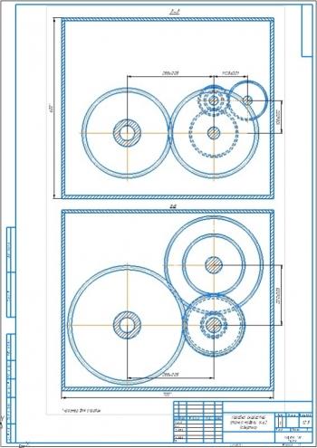 2.Чертеж коробки скоростей станка модели 1А62 (свёртка) А2