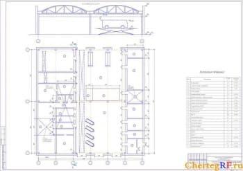 Архитектурно-строительный чертеж компоновочного плана помещения ПК