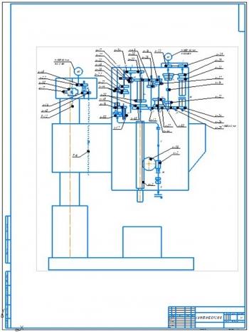 2.Кинематическая схема сверлильного станка 2М55 А1