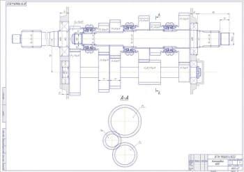 Чертеж компоновки КПП ГАЗ-3110. Выполнен выносной разрез. Проставлены конструкционные размеры (формат А1)