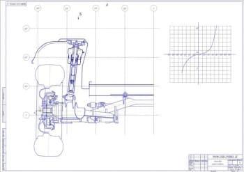 Сборочный чертеж вида задней подвески. Приведена диаграмма (формат А1)