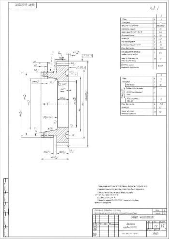 Чертеж детали шестерня коробки передач. На чертеже прописаны технические требования к исполнению детали. Также указаны все технические характеристики детали. Материал изготовления – сталь25ХГТ ГОСТ 4543-82. Проставлены все конструкционные размеры (формат