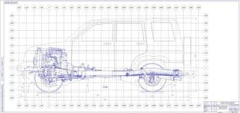 Сборочный чертеж общего вида шасси автомобиля УАЗ