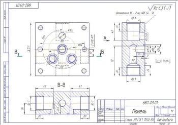 Деталь панели в различных проекциях в масштабе 1:1