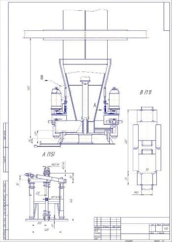 Чертеж сборочный поворотной части привода крана с указанием размеров (формат А2)