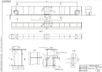 Чертеж СБ концевой балки со схемами креплений (формат А1)
