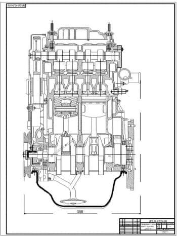 2.Чертеж продольного разреза двигателя ВАЗ-11113