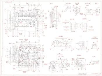 2.Габаритный чертеж двигателя 740.19-200 (лист 2). На чертеже изображено пятнадцать проекций