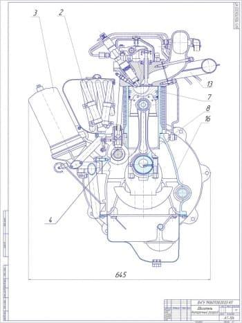 Чертежи продольного и поперечного разреза двигателя с разработкой чертежа графиков работы ДВС