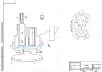 Сборочный чертеж маслонасоса двигателя и схема системы смазки автомобиля ВАЗ-2109