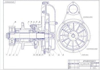 2.Чертеж гидравлической функциональной схемы насоса забортной воды. Представлено два вида. На чертеже выполнен продольный разрез. Обозначены основные рабочие узлы. Позициями отмечены основные сборочные единицы и детали (формат А2)