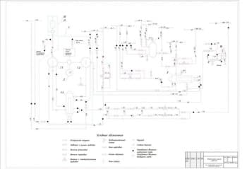 2.Чертеж комбинированной принципиальной схемы компрессорного агрегата компрессорной станции 4(З)К-24А, с условными