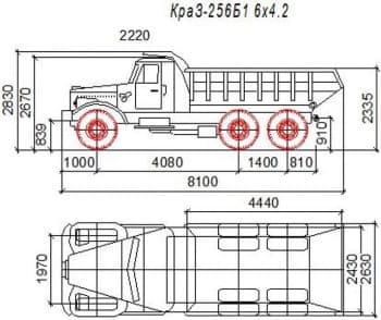 Чертежи общих видов грузовых автомобилей марок КамАЗ 454120-20, КамАЗ-65115, КамАЗ-55111,  КРАЗ-256Б1, МАЗ-5551