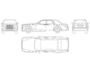 22.Чертеж общего вида автомобиля легкового Rollse-Royse Phaeton в различных проекциях – виды спереди, сбоку, сзади и сверху (формат А1)