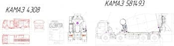 2.Общего вида чертеж спец. автомобилей: автомобиль пожарный КамАЗ-4308 (цистерна пожарная АЦ-3.2-40), с техническими характеристиками: тип шасси – КамАЗ-4308, колесная формула – 4*2, полная масса – 11500кг, скорость максимальная – 100км/ч, двигатель - CU