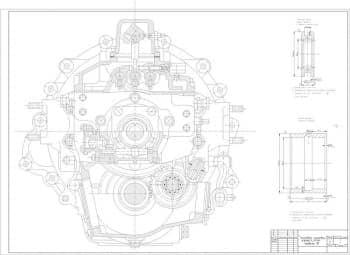 Чертеж сборочный коробки передач автомобиля грузового КамАЗ-55111, модели 15 с муфтой включения первой передачи и передачи заднего хода, с техническими требованиями: острые кромки притупить, предельные неуказанные отклонения размеров: отверстий по Н14, ос
