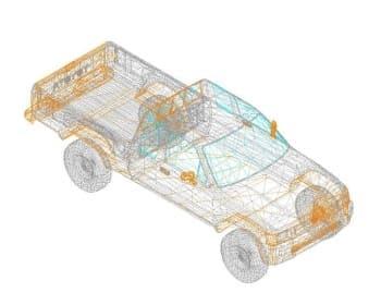 23.Чертеж вида общего автомобиля легкового Тoyota hilux-dwg в 3D формате