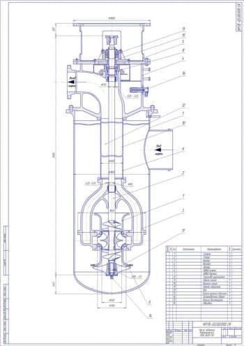 Сборочные чертежи нефтяного магистрального насоса модели НМ 3600-230 и насоса подпорного вертикального НПВ 3600-90