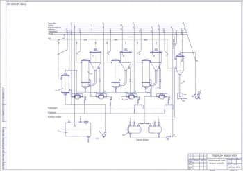 2.Чертеж схемы технологической установки выпарной, с указанными элементами: блокировка, уровень, концентрация, давление, температура, расход, пар, канализация, конденсат, исходный продукт, готовый продукт (формат А1)